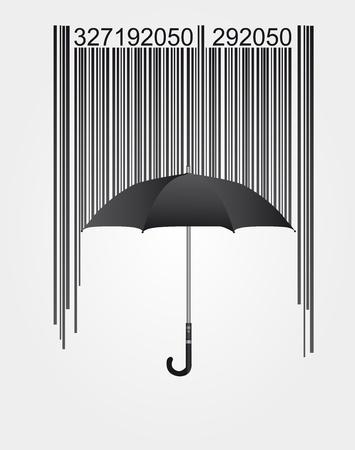 bar code reader: c�digo de barras negra y paraguas aisladas sobre fondo blanco. Vector Vectores