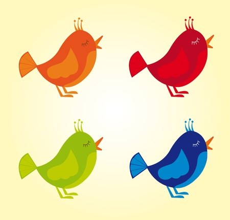 orange,red,blue,green cute birds over orange background. vector Stock Vector - 10263419