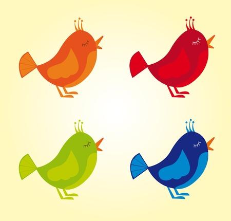 v�gelchen: orange, rot, blau, gr�n niedlichen V�geln �ber orange Hintergrund. Vektor