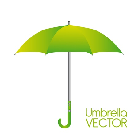 guarda sol: green umbrella isolated over white background. vector Ilustra��o