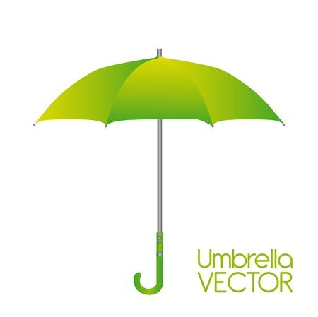 lluvia paraguas: paraguas verde aisladas sobre fondo blanco. Vector