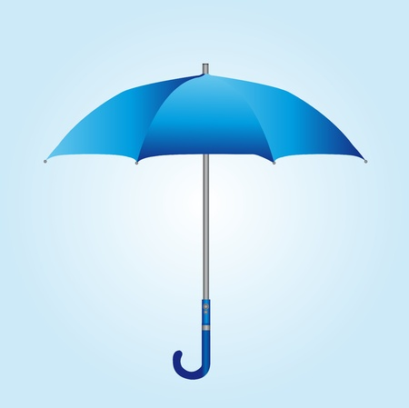 blue umbrella over blue and white background. vector Illustration
