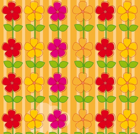 warm colors flowers background over orange background. vector Stock Vector - 10263086