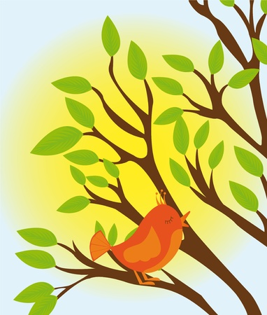 robin bird: green and brown tree with orange bird over sky with sun background Illustration