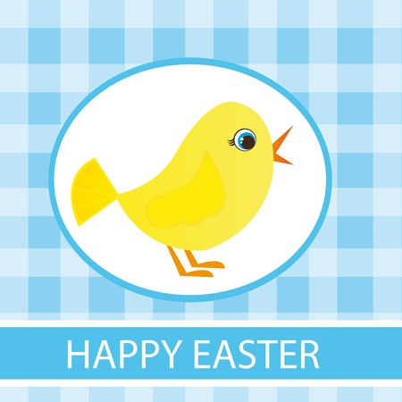 cute yellow chicken over blue checkered background. vector Vector