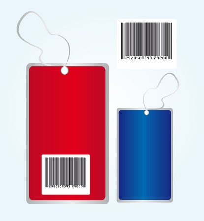 red and blue tags with bar code over blue background. vector Stock Vector - 10263410