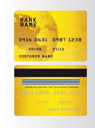 gold plastic credit cards over gray background. vector Vector