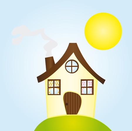 Gelbe und braune Cartoon Haus über Himmel mit Sonne und Gras. Vektor