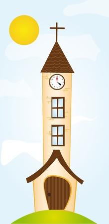 naranja caricatura: Iglesia de naranja de dibujos animados en el cielo con fondo de sol. Vector Vectores