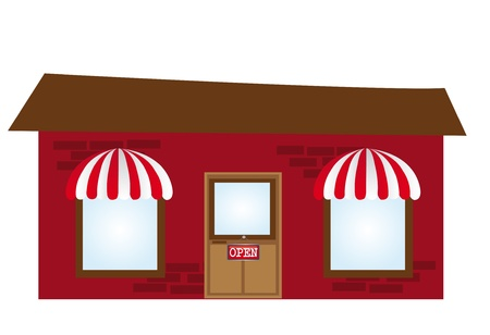 shop window display: dark red with brown coffee cartoon isolated over white background. vector Illustration