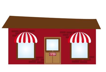 store window: donker rood met bruine koffie cartoon geà ¯ soleerd op witte achtergrond. vector