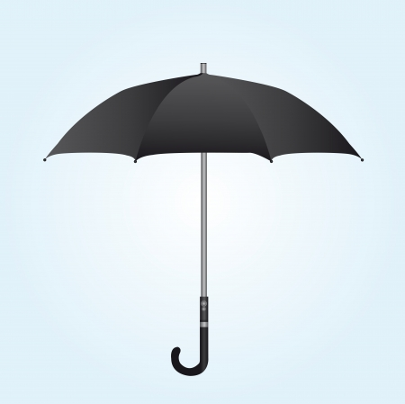 black umbrella over white and blue background. vector Vector