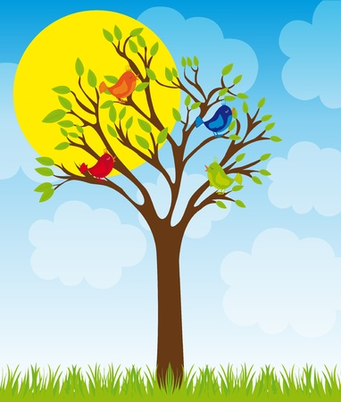 cute tree and birds with grass over sky with sun and cloud background