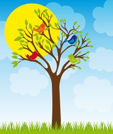 ¡rboles con pajaros: árbol lindo y pájaros de hierba en el cielo con sol y nubes