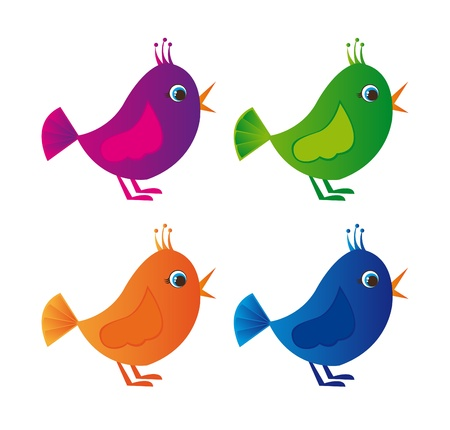 violet,green, orange, blue colorful birds isolated over white background Vector