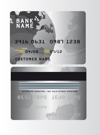 silver plastic credit cards over gray background. vector Vector