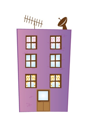 violet cartoon building isolated over white background. vector Vector