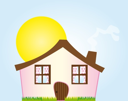 light  house: pink cartoon house with grass over sky with sun background. vector