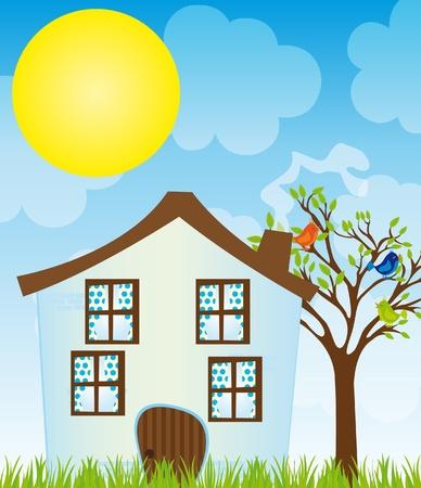 �rboles con pajaros: Casa Azul caricatura con �rboles, aves, hierba en el cielo con fondo de sol. Vector