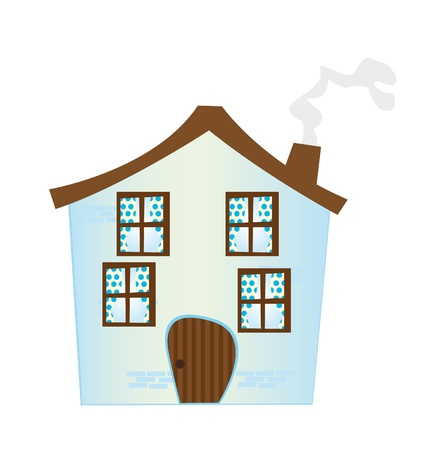 blue cartoon house isolated over white background. vector Stock Vector - 10263415