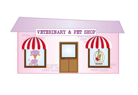 pet store: violet and pink cartoon veterinary isolated over white background. vector Illustration