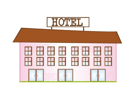 hotel door: pink and brown cartoon hotel isolated over white background. vector