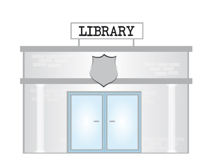 gray cartoon library isolated over white background. vector