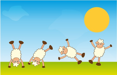 handstand sheep over landscape background. vector Иллюстрация