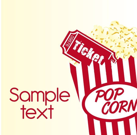 pop corn: pop corn and ticket with sample text background. vector