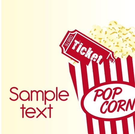 Popcorn und Ticket mit Beispieltext Hintergrund. Vektor