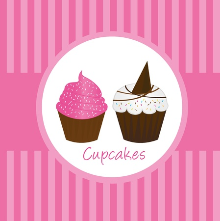 cup cakes: pasteles de Copa lindos rosas sobre fondo de color rosado. Vector Vectores