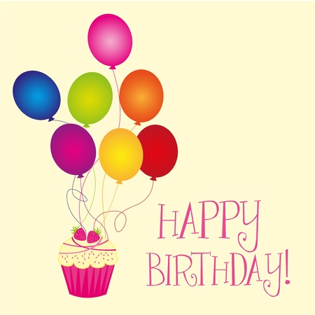 happy birthday with balloons and cupcake over beige background. vector