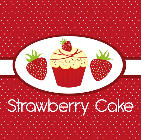 confection: cute strawberry cake over red backgroud. vector Illustration