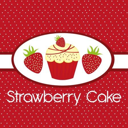 pasteles: lindo pastel de fresa sobre fondo rojo. Vector