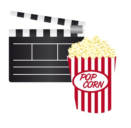 clapper board and pop corn isolated over white background. vector Vector