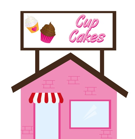 cup cake restaurant isolated over white background. vector Stock Vector - 10790401