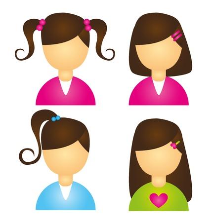 icônes de filles enfant isolé sur renseignements blanc. vecteur