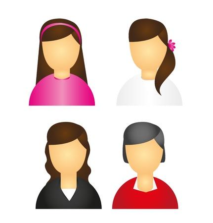 g�n�alogie: ic�nes des femmes isol�es sur fond blanc. vecteur Illustration