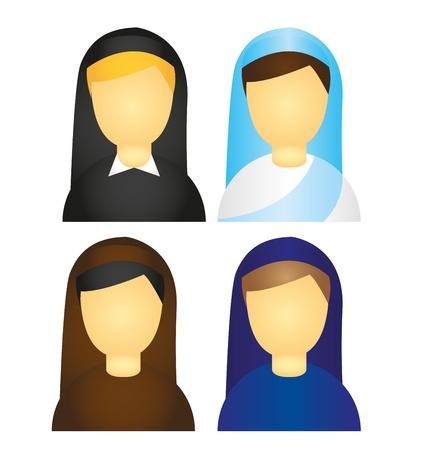 cat�licismo: iconos de monja aislados sobre fondo blanco. Vector