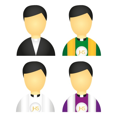 church group: priest icons isolated over white background. vector