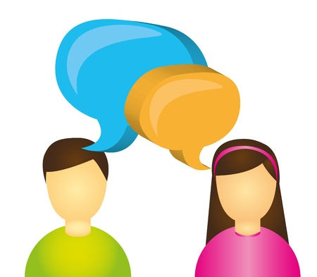people with thought bubbles isolated over white background. vector
