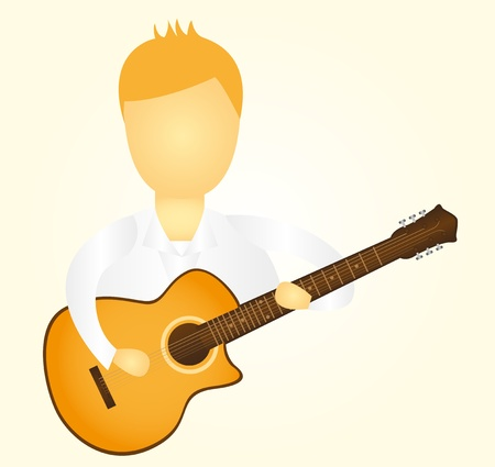 soloist: man playing guitar over yellow background. vector Illustration