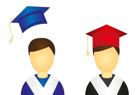 scholars: graduate icon isolated over white background. vector Illustration