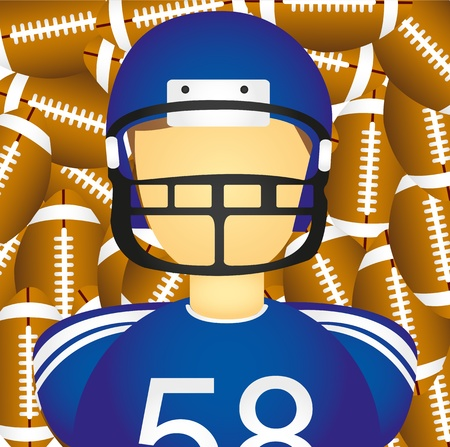 blue helmet: football player over football american balls background. vector