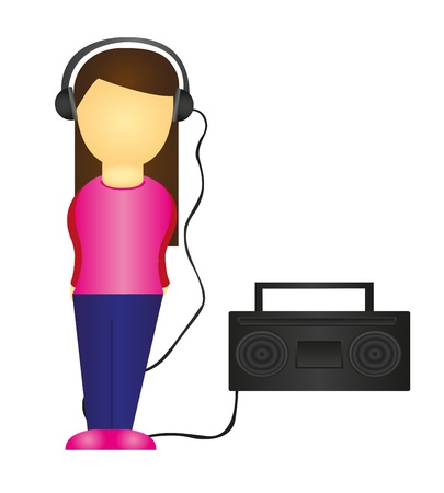 woman listening to music isolated over white background. vector Vector