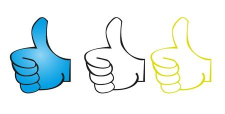 thumbs up business: caricaturas buenas manos aisladas sobre fondo blanco. vector