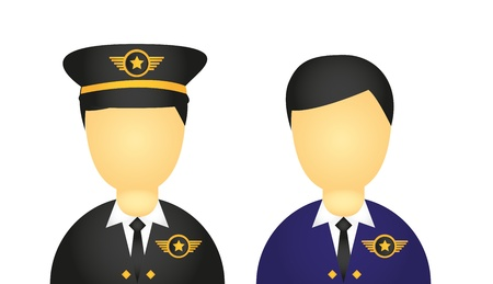 attendant: pilot with suit and hat icons isolated over white background. vector