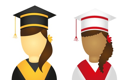 woman graduate icons isolated over white background. vector Vector