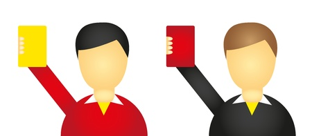 soccer referees hand with red card: referee icons isolated over white background. vector