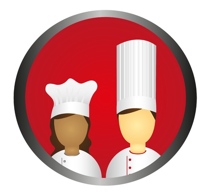 chef uniform: chef icon circle isolated over white background. vector